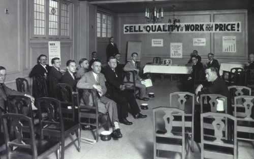 western construction group 1920's sales meeting