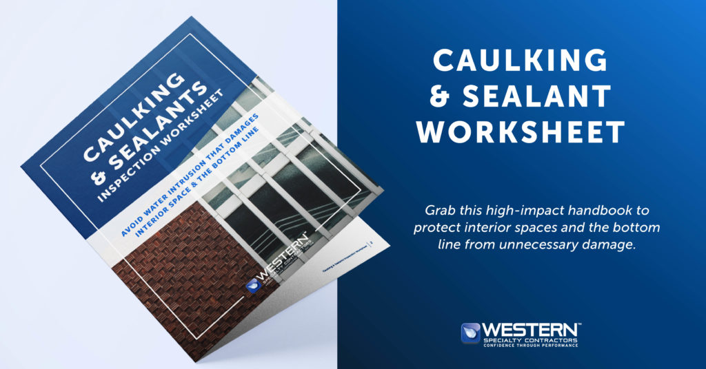 "Caulking and Sealant Worksheet mockup - ""Grab this high-impact handbook to protect interior spaces and the bottom line from unnecessary damage"""